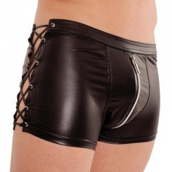Wetlook boxer met veters en rits