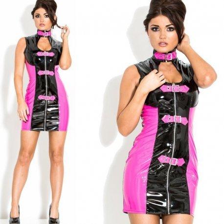 Lak jurkje zwart roze met rits