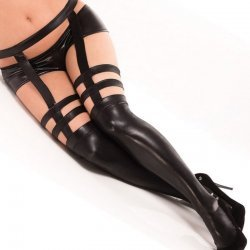 Wetlook hold-ups met jarretel