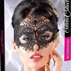 Geborduurd zwart masker
