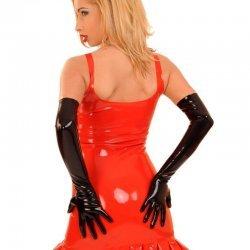 Zwarte latex handschoenen lang