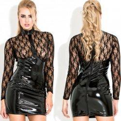lak jurkje met transparant bovendeel