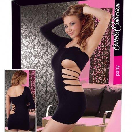 Zwart jurkje met één mouw