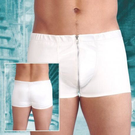 Witte lak short met rits