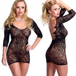 Zwart elastisch jurkje met driekwart mouw