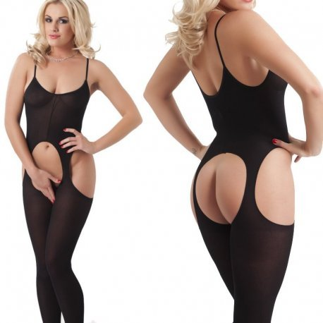 Zwarte open catsuit