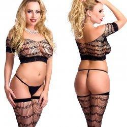 Zwart multi stretch lingerie setje
