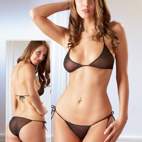 Zwart transparante bikini set