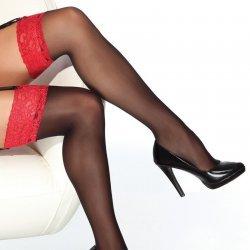 Zwarte kousen met rode rand