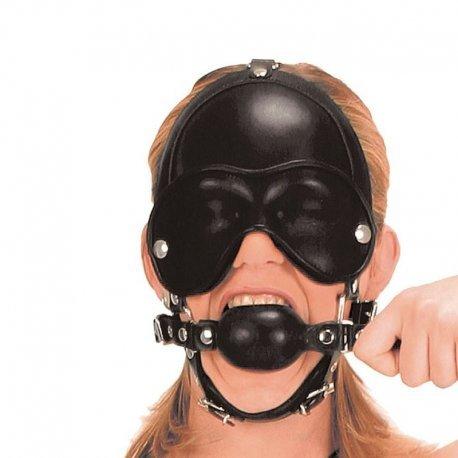 Leren masker met gag
