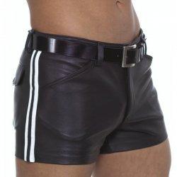 Leatherlook short met witte strepen