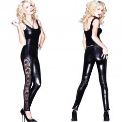 Wetlook legging met kant