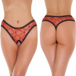 Transparant rode G-String ouvert