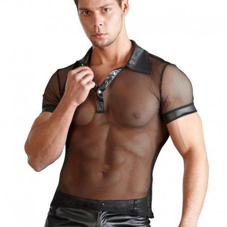 Zwart net shirt met wetlook