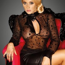Transparante blouse met brede strik